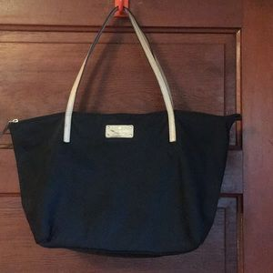 Large black nylon zippered tote by Kate Spade